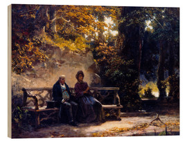 Tableau en bois  The couple on the bench - Carl Spitzweg