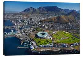 Tableau sur toile  Cape Town Stadium et Table Mountain - David Wall