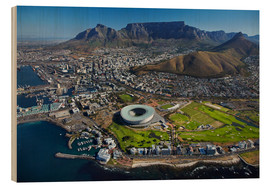Tableau en bois  Cape Town Stadium et Table Mountain - David Wall