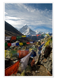 Poster  Prayer flags and the Ama Dablam - David Noyes