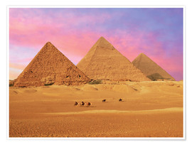 Poster  Giza Pyramids at sunset - Miva Stock