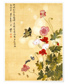 Poster  Poppies and Butterflies - Ma Yuanyu
