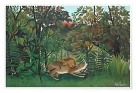 Poster  The hungry lion - Henri Rousseau