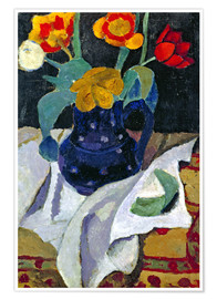 Poster Nature morte aux tulipes en pot bleu