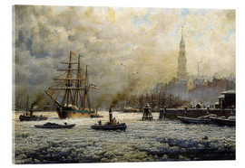 Tableau en verre acrylique  The Port of Hamburg, 1893 - Georg Schmitz