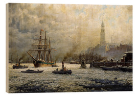 Tableau en bois  The Port of Hamburg, 1893 - Georg Schmitz