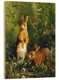 Bois  Rabbits in a meadow - Olaf August Hermansen