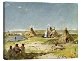 Toile  Camp of the Indians in Wyoming - Frank Buchser