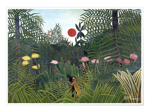 Poster Paysage de jungle au soleil couchant