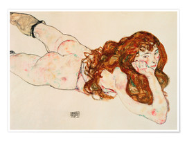 Poster  Lying on his stomach nude - Egon Schiele