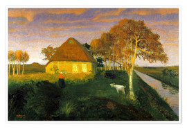 Poster  Moor cottage in the evening sun - Otto Modersohn