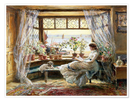 Poster  Reading at the window - Charles James Lewis
