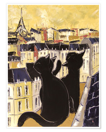 Poster  Cats on the rooftops of Paris - JIEL