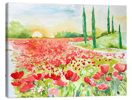 Tableau sur toile  Field of poppies - Maria Földy