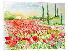 Tableau en PVC  Field of poppies - Maria Földy