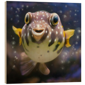 Tableau en bois  fugu the bowlfish - Photoplace Creative
