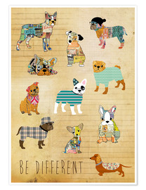 Poster Be different, chiens
