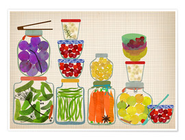 Poster  Bottled pickles and fruits - Elisandra Sevenstar