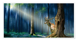Poster  The Deer In The Mystical Forest - Monika Jüngling