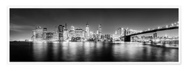 Sascha Kilmer - New York la nuit, photo panoramique monochrome
