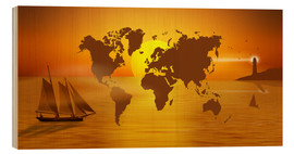 Tableau en bois  Sailing Around The World With World Map - Monika Jüngling