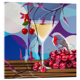 Tableau en verre acrylique  Vintage Birdy Cocktail IV - Mandy Reinmuth