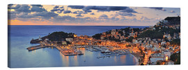 Tableau sur toile  Port Soller Mallorca at night - FineArt Panorama