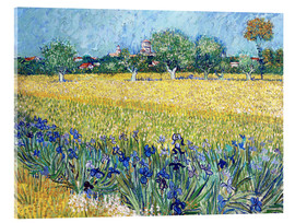 Verre acrylique  Arles with Irises flowers in the foreground - Vincent van Gogh