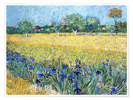 Poster  Arles with Irises flowers in the foreground - Vincent van Gogh