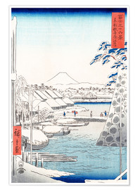 Poster  Riverbank at Sukiya in Edo - Utagawa Hiroshige