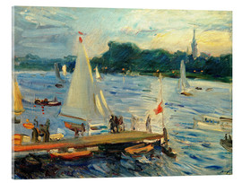 Verre acrylique  Sailboats on the Alster Lake in the evening - Max Slevogt