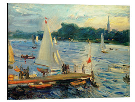 Tableau en aluminium  Sailboats on the Alster Lake in the evening - Max Slevogt