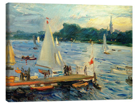 Toile  Sailboats on the Alster Lake in the evening - Max Slevogt