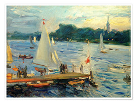 Poster  Sailboats on the Alster Lake in the evening - Max Slevogt