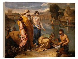 Tableau en bois  Discovery of the Moses baby - Nicolas Poussin