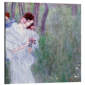 Gustav Klimt - Girl with flowers at the edge of a forest