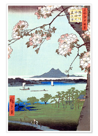 Poster  Masaki and the Suijin Grove by the Sumida River - Utagawa Hiroshige