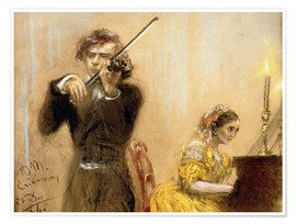Poster  Clara Schumann and Joseph Joachim playing music - Adolph von Menzel