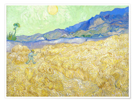 Poster  Wheat Field with Reaper at sunrise - Vincent van Gogh