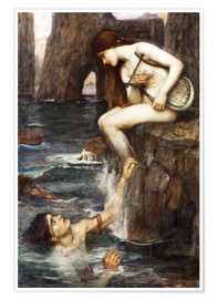 Poster  La Sirène - John William Waterhouse