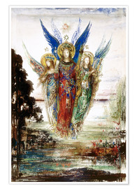 Poster  Job and the Angels - Gustave Moreau