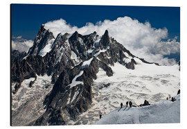 Tableau en aluminium  Mont Blanc Massif and mountaineer, France - Frauke Scholz