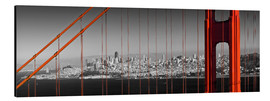 Tableau en aluminium  Golden Gate Bridge Panoramic - Melanie Viola