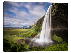 Tableau sur toile  Sejalandsfoss Waterfall with Rainbow - Andreas Wonisch