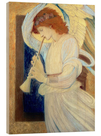 Tableau en bois  An Angel Playing a Flageolet - Edward Burne-Jones
