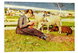 Tableau en PVC  A Girl Knitting - Giovanni Segantini