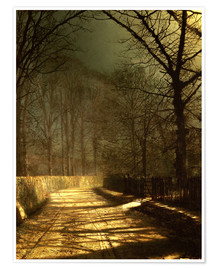 Poster  A Moonlit Lane, with two lovers by a gate - John Atkinson Grimshaw