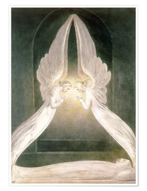 Poster  Le Christ dans la tombe, protégé par des anges - William Blake