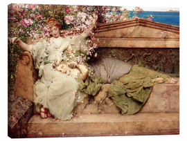 Tableau sur toile  In a Rose Garden - Lawrence Alma-Tadema
