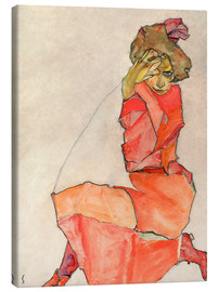 Egon Schiele - Kneeling woman in red dress